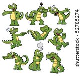 Nine Cartoon Crocodiles. All...