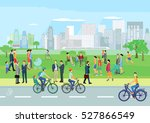people at leisure in the park ... | Shutterstock . vector #527866549