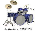 Drum Kit Isolated On A White...