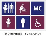 restroom icons set  man and... | Shutterstock .eps vector #527873407