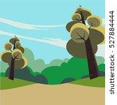 pathway going through lush... | Shutterstock .eps vector #527884444