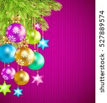 colorful christmas balls  stars ... | Shutterstock .eps vector #527889574