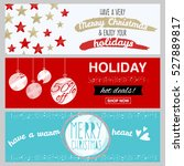 set of flat winter holidays and ... | Shutterstock .eps vector #527889817