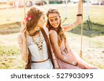 two cute hippie girl in the... | Shutterstock . vector #527903095