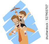 happy father and son on... | Shutterstock .eps vector #527903707