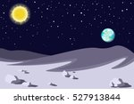 lunar landscape. planet earth... | Shutterstock .eps vector #527913844