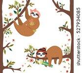 Vector Cute Baby Sloths. Funny...