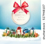 christmas presents with a gift... | Shutterstock .eps vector #527948107
