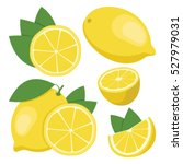 lemon. collection of whole and... | Shutterstock .eps vector #527979031