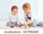 cute kids playing with toy... | Shutterstock . vector #527980309