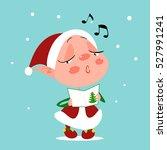 cartoon santa's helper singing... | Shutterstock .eps vector #527991241