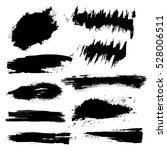 set of black paint  ink brush... | Shutterstock .eps vector #528006511