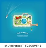 time to travel banner with top... | Shutterstock .eps vector #528009541