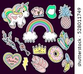 set of fashion patches elements.... | Shutterstock .eps vector #528011749