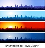 City Silhouette At Different...