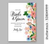 wedding invitation floral...   Shutterstock .eps vector #528049999