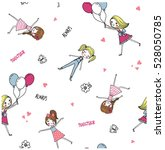 happy and cute girls pattern... | Shutterstock .eps vector #528050785
