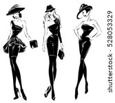black and white retro fashion... | Shutterstock .eps vector #528053329