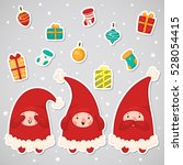 stickers with christmas elves... | Shutterstock .eps vector #528054415