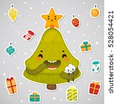 stickers with cute tree and... | Shutterstock .eps vector #528054421