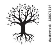 black vector tree and roots.... | Shutterstock .eps vector #528075589