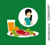 healthy food girl with plate... | Shutterstock .eps vector #528084397