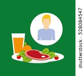 healthy food man with plate... | Shutterstock .eps vector #528084547