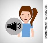 smiling girl music volume...   Shutterstock .eps vector #528087901