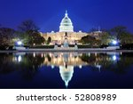Stock photo capitol hill building at dusk with lake reflection and blue sky washington dc 52808989