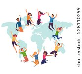 group of young people jumping... | Shutterstock .eps vector #528110299