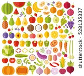 fruits and vegetables flat... | Shutterstock .eps vector #528135337