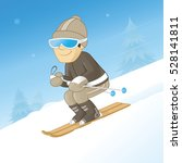 man downhill skiing on a clear... | Shutterstock .eps vector #528141811