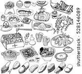 japanese foods. hand drawn... | Shutterstock .eps vector #528146089