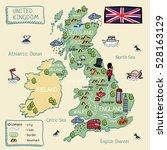 cartoon map of united kingdom.... | Shutterstock .eps vector #528163129