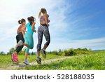 three female joggers running... | Shutterstock . vector #528188035