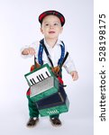 Small photo of boy with an accordion on white