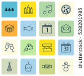 set of 16 happy new year icons. ... | Shutterstock .eps vector #528201985