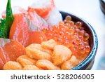 salmon and ikura don  close up  ... | Shutterstock . vector #528206005