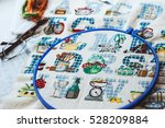 cross stitch set   hoop with... | Shutterstock . vector #528209884