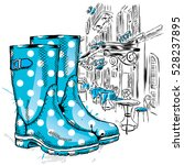 rubber boots on a background of ... | Shutterstock .eps vector #528237895