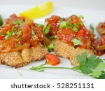 fried fish herring with tomato... | Shutterstock . vector #528251131