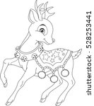 christmas deer coloring page | Shutterstock .eps vector #528253441