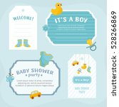 baby shower labels set. borders ... | Shutterstock .eps vector #528266869