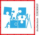puzzle and people icon vector... | Shutterstock .eps vector #528280819