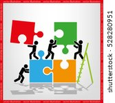puzzle and people icon vector... | Shutterstock .eps vector #528280951
