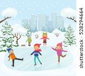 children are skating in the...   Shutterstock .eps vector #528294664