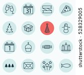 set of 16 holiday icons. can be ... | Shutterstock .eps vector #528329005