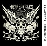 motorcycle skull with helmet... | Shutterstock .eps vector #528329455