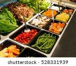salad bar with various...