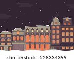 winter night buildings. old...
